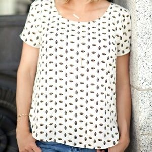Ann Taylor | Pineapple Print T Shirt Blouse